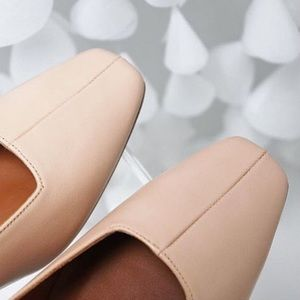 Miista Shoes - Perfect nude square toe heels